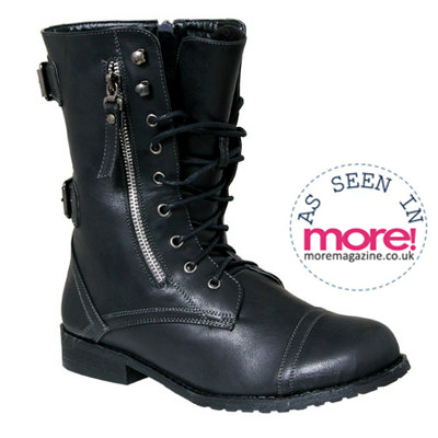 Black Buckle Military Boot Preview